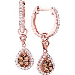 1/2 CTW Womens Round Brown Diamond Teardrop Dangle Earrings 14kt Rose Gold - REF-54A5M