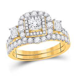 2 CTW Princess Diamond Bridal Wedding Ring 14kt Yellow Gold - REF-224R9X
