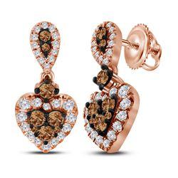 1 CTW Womens Round Brown Diamond Heart Dangle Earrings 10kt Rose Gold - REF-74N9A