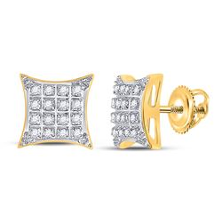 1/10 CTW Womens Round Diamond Square Kite Stud Earrings 10kt Yellow Gold - REF-13N5A