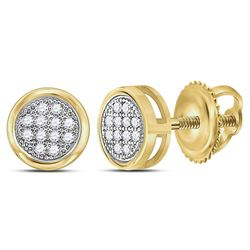 1/20 CTW Womens Round Diamond Circle Cluster Earrings 10kt Yellow Gold - REF-10N3A