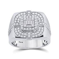 1 CTW Mens Baguette Diamond Square Ring 14kt White Gold - REF-204N5A