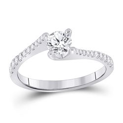 3/4 CTW Round Diamond Solitaire Bridal Wedding Engagement Ring 14kt White Gold - REF-163M5F