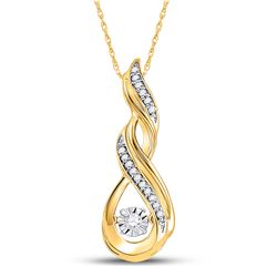 1/10 CTW Womens Round Diamond Moving Twinkle Fashion Pendant 10kt Yellow Gold - REF-17W6H