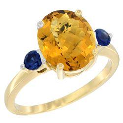 2.64 CTW Quartz & Blue Sapphire Ring 14K Yellow Gold - REF-31H4M