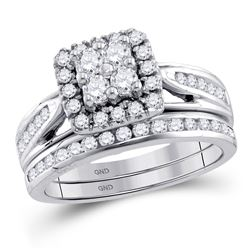 1 CTW Round Diamond Cluster Bridal Wedding Ring Band Set 10kt White Gold - REF-98W9H