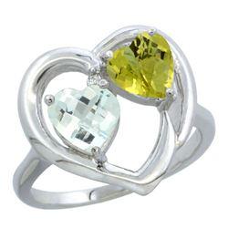2.61 CTW Diamond, Aquamarine & Lemon Quartz Ring 10K White Gold - REF-27K5W