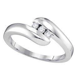 1/8 CTW Womens Round Diamond 3-stone Promise Ring 10kt White Gold - REF-22V5Y