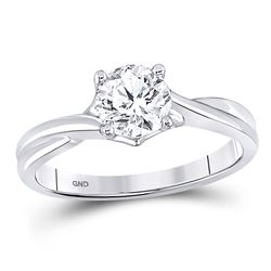 1/2 CTW Womens Round Diamond Solitaire Bridal Wedding Engagement Ring 14kt White Gold - REF-72H3R