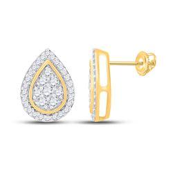 1/3 CTW Womens Round Diamond Teardrop Earrings 10kt Yellow Gold - REF-23W7H