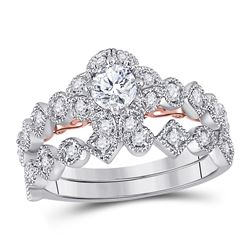 3/4 CTW Round Diamond Bridal Wedding Ring 14kt Two-tone Gold - REF-109N2A