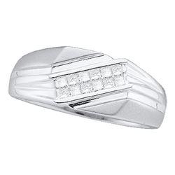 1/3 CTW Mens Princess Diamond Diagonal Band Ring 14kt White Gold - REF-61M4F