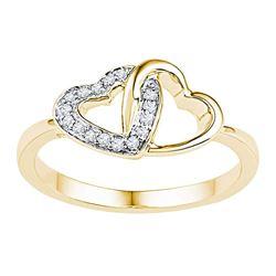1/12 CTW Womens Round Diamond Double Locked Heart Ring 10kt Yellow Gold - REF-19X6T
