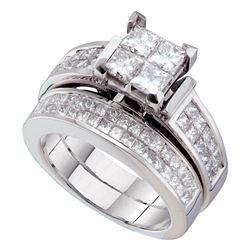 2 & 1/2 CTW Princess Diamond Bridal Wedding Ring 14kt White Gold - REF-340V8Y