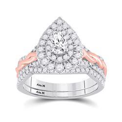 1 CTW Pear Diamond Bridal Wedding Ring 14kt Two-tone Gold - REF-156Y7N