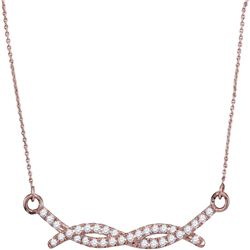 1/4 CTW Womens Round Diamond Twist Fashion Necklace 10kt Rose Gold - REF-24M5F