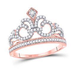 1/5 CTW Womens Round Diamond Fleur Crown Tiara Fashion Ring 10kt Rose Gold - REF-20T5V