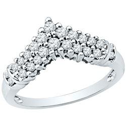 1/2 CTW Womens Round Diamond Chevron Band Ring 10k White Gold - REF-45X7T