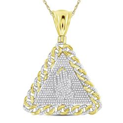 1 CTW Mens Round Diamond Praying Hands Triangle Charm Pendant 10kt Yellow Gold - REF-115F8W
