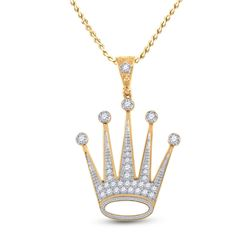 1 CTW Mens Round Diamond King Crown Charm Pendant 10kt Yellow Gold - REF-88Y5N