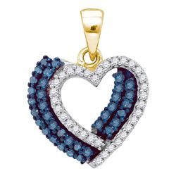 3/8 CTW Womens Round Blue Color Enhanced Diamond Double Heart Pendant 10kt Yellow Gold - REF-16H4R