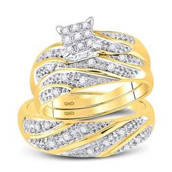 1/3 CTW His Hers Round Diamond Square Matching Wedding Set 10kt Yellow Gold - REF-44X2T