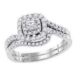 1/2 CTW Princess Diamond Bridal Wedding Ring 14kt White Gold - REF-71H6R