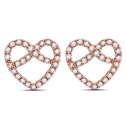 1/6 CTW Womens Round Diamond Pretzel Heart Earrings 14kt Rose Gold - REF-17N6A