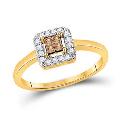 1/4 CTW Womens Princess Brown Diamond Square Cluster Halo Ring 10kt Yellow Gold - REF-19A6M