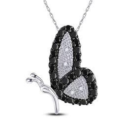 1/4 CTW Womens Round Black Color Enhanced Diamond Butterfly Bug Pendant 10kt White Gold - REF-12T2V