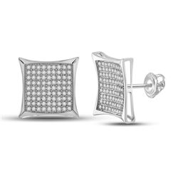 1/2 CTW Womens Round Diamond Square Earrings 10kt White Gold - REF-23V3Y