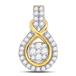 1/2 CTW Womens Round Diamond Cluster Pendant 10kt Yellow Gold - REF-38T2V
