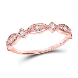 1/8 CTW Womens Round Diamond Stackable Band Ring 10kt Rose Gold - REF-21H8R