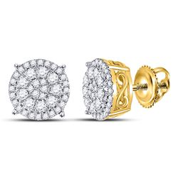 1/2 CTW Womens Round Diamond Fashion Cluster Earrings 10kt Yellow Gold - REF-37M5F