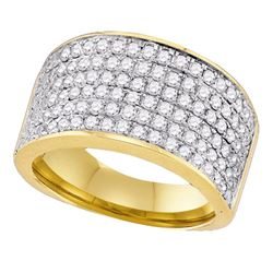 1 & 1/2 CTW Womens Round Diamond Pave Band Ring 10kt Yellow Gold - REF-102R3X