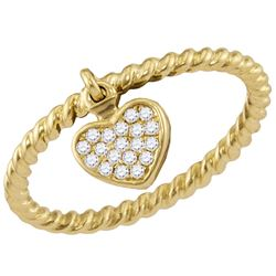 1/10 CTW Womens Round Diamond Heart Dangle Stackable Band Ring 14kt Yellow Gold - REF-29N4A