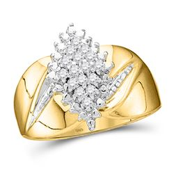1/8 CTW Womens Round Prong-set Diamond Oval Cluster Ring 10kt Yellow Gold - REF-25A9M