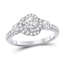 1 CTW Round Diamond Solitaire Bridal Wedding Engagement Ring 14kt White Gold - REF-148M6F