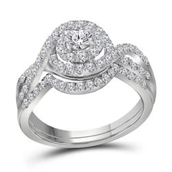 1 CTW Round Diamond Swirl Halo Bridal Wedding Ring 14kt White Gold - REF-119Y2N