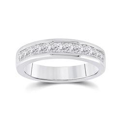 1 CTW Womens Princess Channel-set Diamond Single Row Wedding Band Ring 14kt White Gold - REF-115Y3N