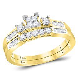 3/8 CTW Princess Diamond Bridal Wedding Ring 10kt Yellow Gold - REF-32N6A
