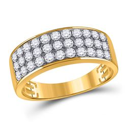 1 & 3/8 CTW Mens Round Diamond Pave Band Ring 14kt Yellow Gold - REF-104A4M