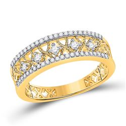 1/4 CTW Womens Round Diamond Band Ring 10kt Yellow Gold - REF-27A3M