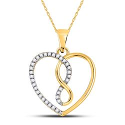 1/8 CTW Womens Round Diamond Infinity Heart Pendant 10kt Yellow Gold - REF-12W2H