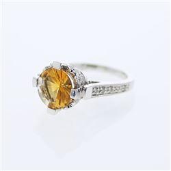 3.29 CTW Citrine & Diamond Ring 14K White Gold - REF-57H7M