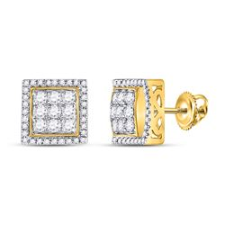 7/8 CTW Mens Round Diamond Square Cluster Earrings 10kt Yellow Gold - REF-58F5W