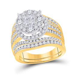 2 & 1/2 CTW Princess Diamond Bridal Wedding Ring 14kt Yellow Gold - REF-276N2A