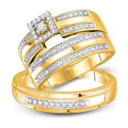 1/4 CTW His Hers Round Diamond Square Matching Wedding Set 10kt Yellow Gold - REF-58M5F