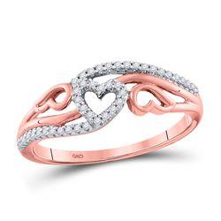 1/8 CTW Womens Round Diamond Triple Heart Band Ring 10kt Yellow Gold - REF-16R4X