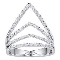 3/8 CTW Womens Round Diamond Chevron Fashion Ring 10kt White Gold - REF-27F3W